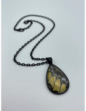 Yellow Swallowtail Black Tear Drop Necklace