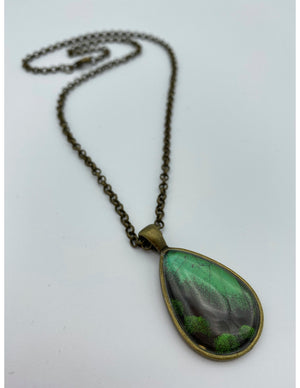 Emerald Swallowtail Bronze Tear Drop Necklace