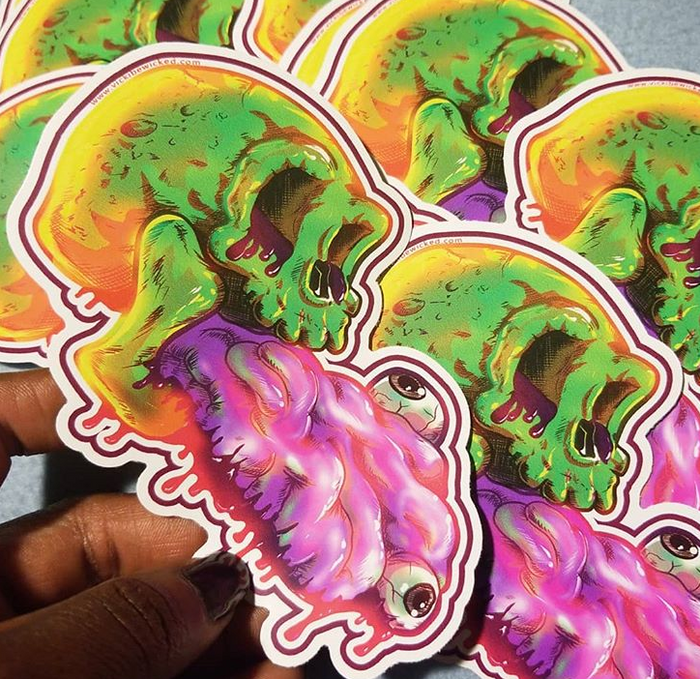 Skull Guts Sticker