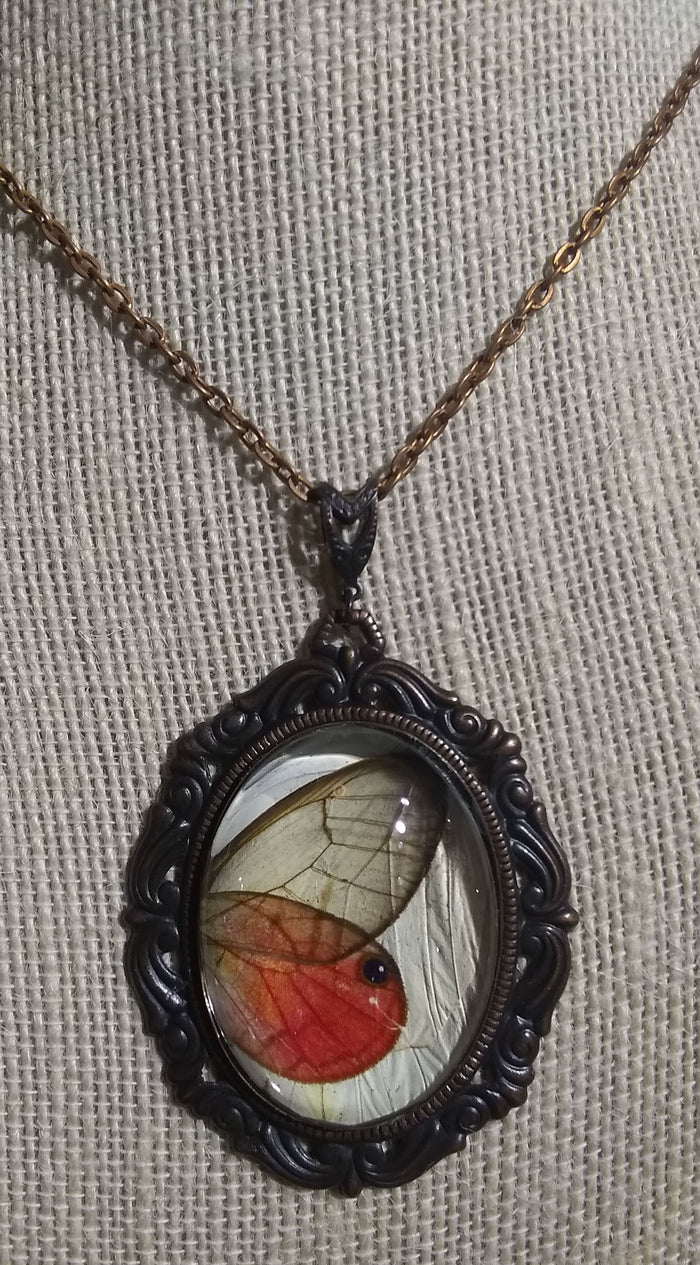 Rosey Posey Butterfly Victorian Pendant