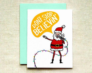 Karaoke Santa Greeting Card