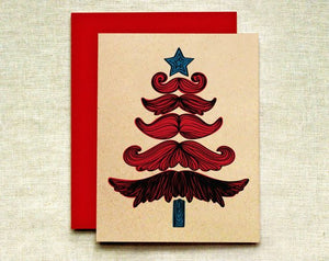 Mustache Christmas Tree Greeting Card