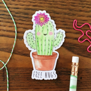 Cactus Free Hugs Vinyl Sticker