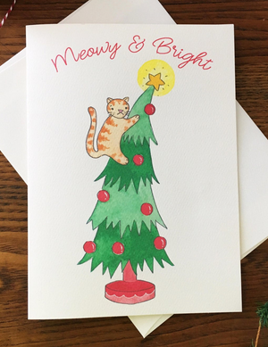 Meowy & Bright Greeting Card