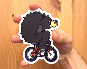 Biking Bear Sticker
