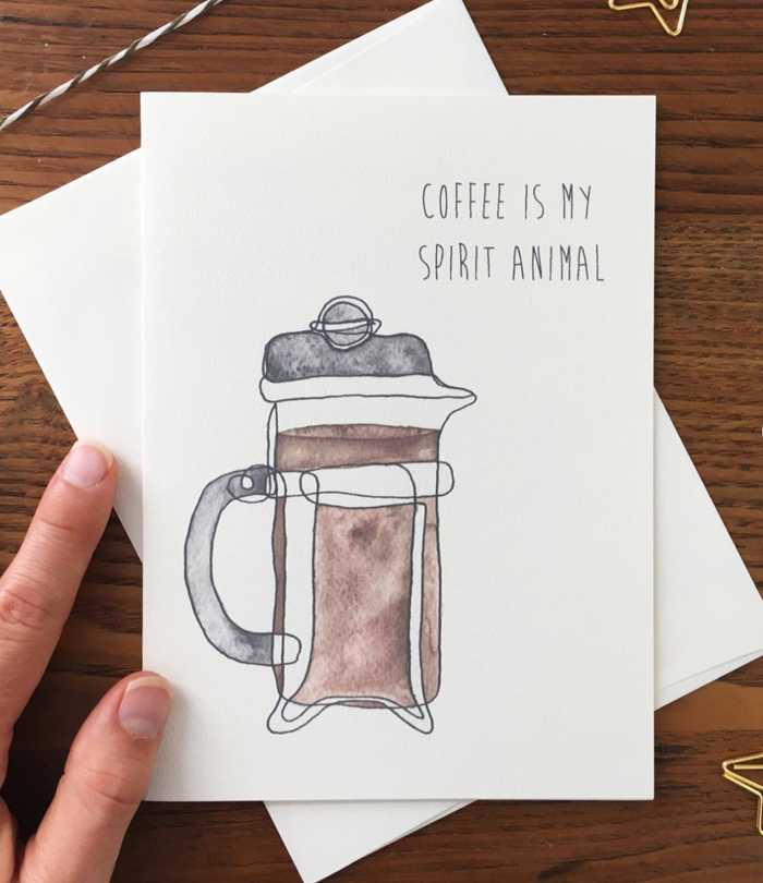 Coffee Is My Spirit Animal Greeting Card