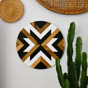 "18"" Black and White Wood Roundel - Danielle Milner"