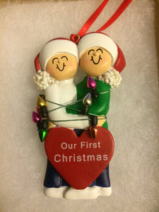 Couple's First Christmas Personalized Ornament//Magnet