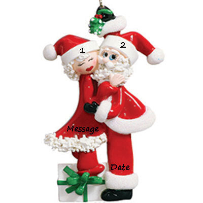 Mistletoe Christmas Kiss Couple Personalized Christmas Ornament