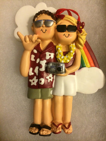 Honeymoon Vacation Couple Personalized Christmas Ornament