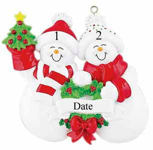 Snowman Couple // Family  Personalized Family Ornament