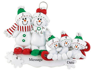 Sledding Snowmen Family Personalized Christmas Ornament