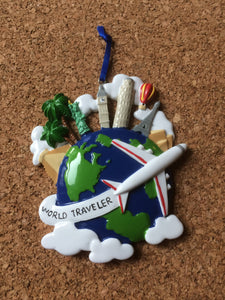 World Traveler Globe Personalized Travel Ornament