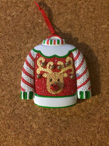 Ugly Sweater-Reindeer Personalized Christmas Ornament
