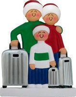 Traveling Couple / Family with Suitcase Personalized Christmas Ornament