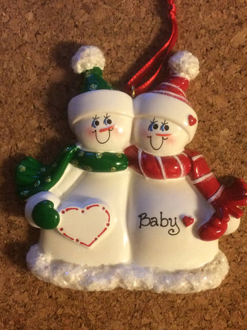 Expecting Snow Family // Personalized Christmas Ornament