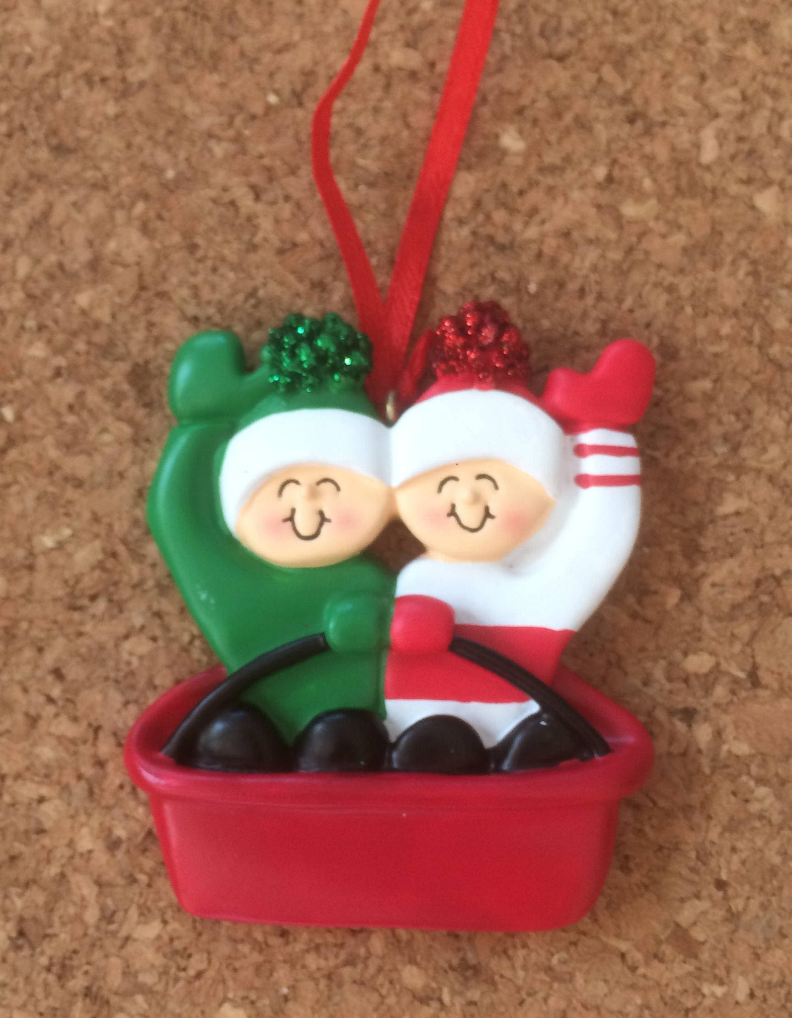 Sledding Couple // Family Personalized Christmas Ornament