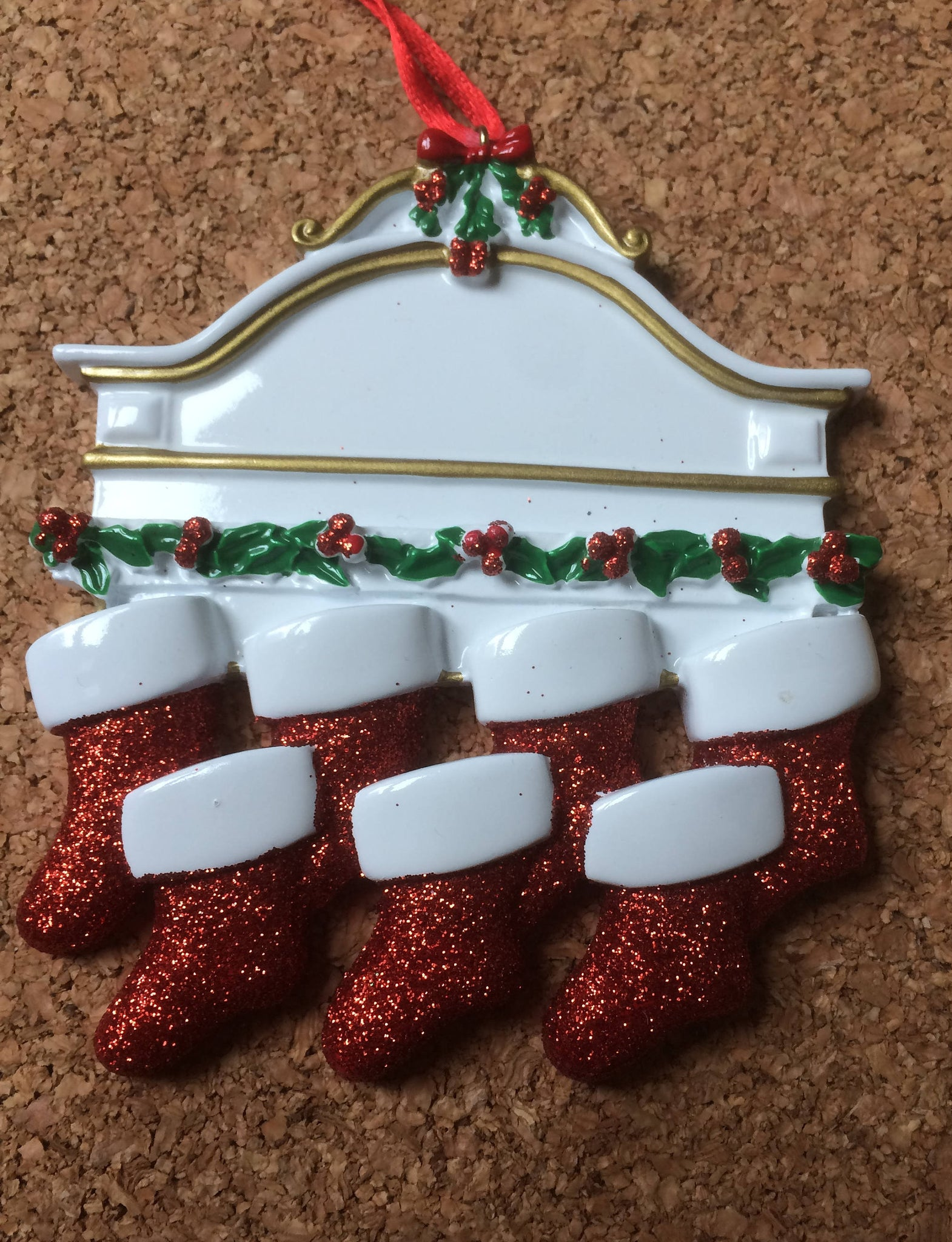Red Stockings White Mantle Family Personalized Family Ornament