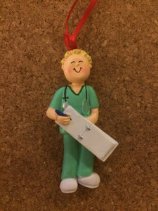 Nurse In Scrubs Personalized Christmas Ornament/Thank You Gift/Cake Topper
