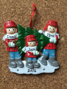 Maine Tree Couple // Family Personalized Christmas Ornament