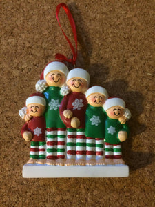 Holiday Striped Pajama Family of 5 Personalized Ornament