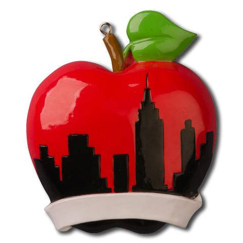 Big Red Apple // New York silhouette  // Personalized Christmas Ornament