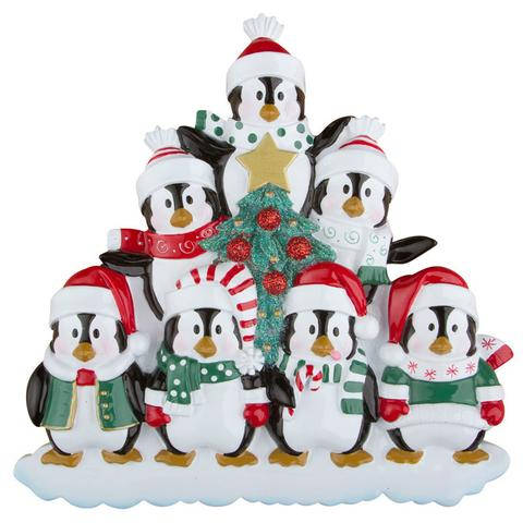 Holiday Penguin Family Personalized Christmas Easle Back Table Topper