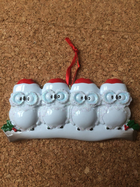 Snowy Owl Couple // Family Personalized Family Ornament