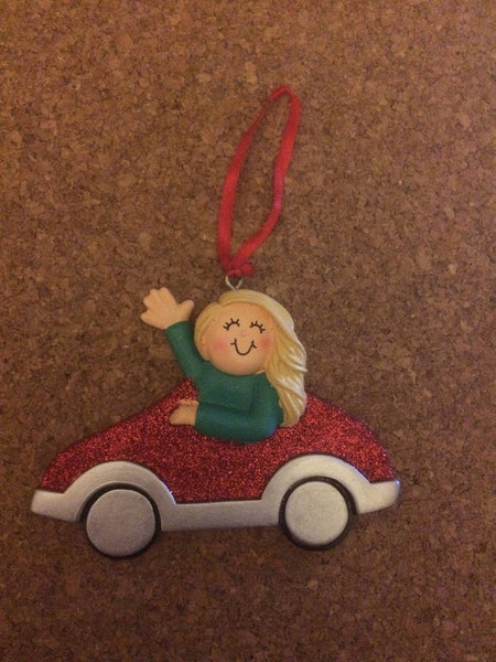 New Driver Red Car Personalized Christmas Ornament