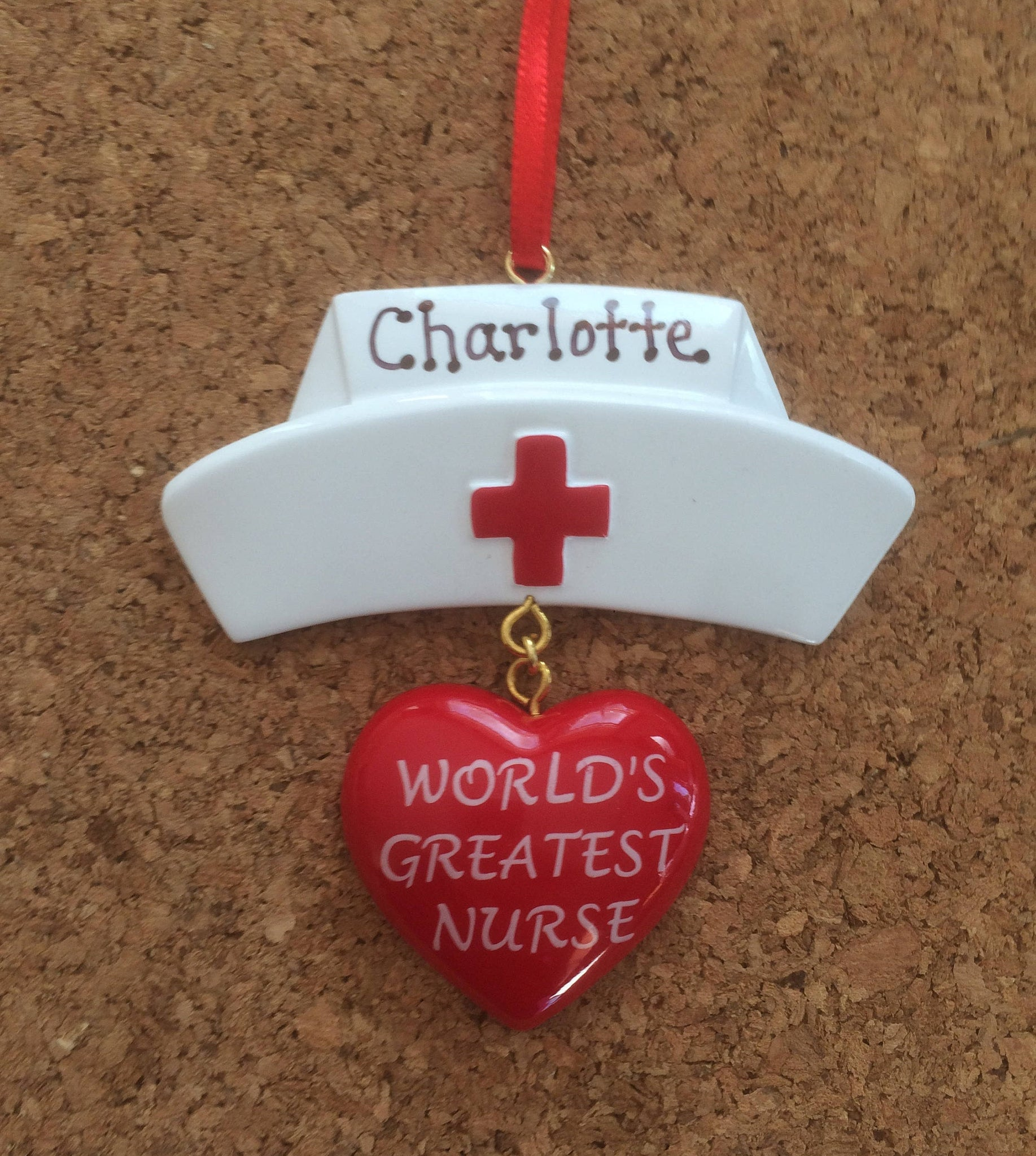 Gift for Nurses - Graduates-World's Greatest Nurse Cap- Personalized Chritmas Ornament