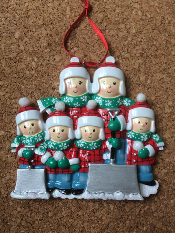 Snowflake Scarf Family  Personalized Christmas Ornament