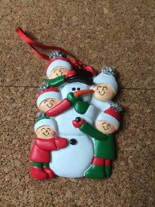Building Snowman Family of 5 Personalized Christmas Ornament