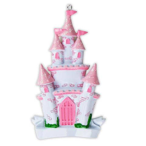 Pink Princess Castle Personalized Christmas Ornament