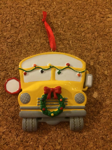 Yellow School Bus With Wreath Personalized Christmas Ornament/Thank You Gift