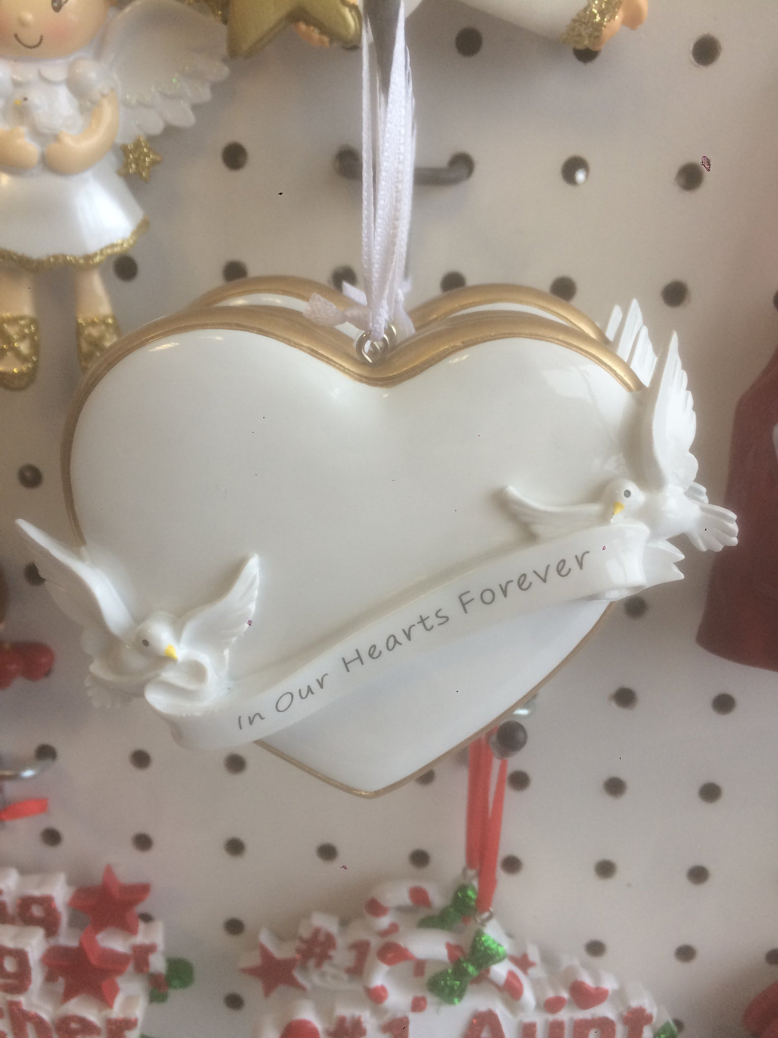Memorial Heart with Doves Personalized Christmas Ornament