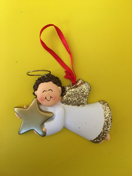 Angel with Gold Star // Personalized Christmas Ornament