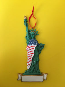 Statue of Liberty USA Flag Personalized Christmas Ornament