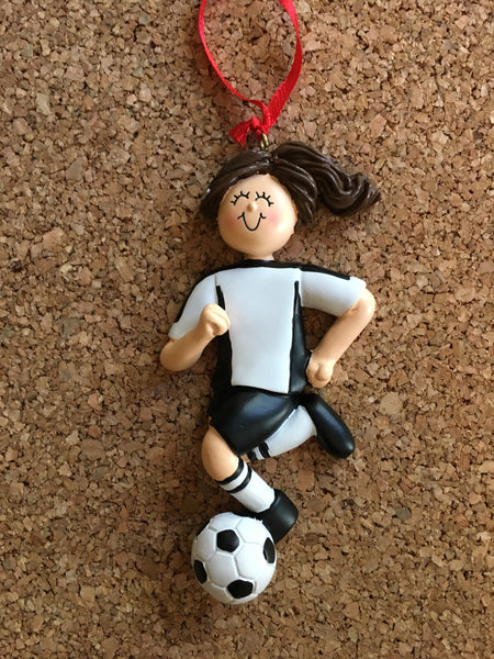 Soccer Player with Soccer Ball /Black Uniform/Personalized Christmas Ornament/Cake Topper