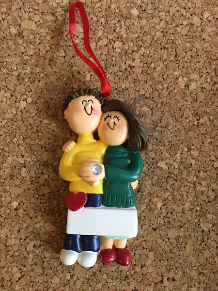 Personalzied Engagement Couple Ornament with Banner