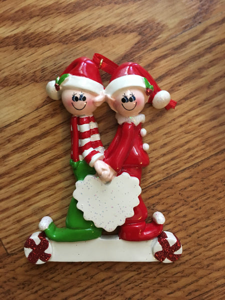 Elf Couple with Heart Personalized Ornament