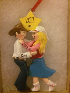 Couple Cowboy and Cowgirl Dancing Personalized Christmas Ornament