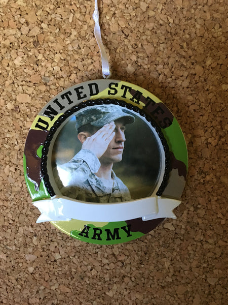 United States Army Camo Picture Frame// Personalized Christmas Ornament