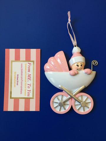 Pink Baby Carriage, Personalized Christmas Ornament