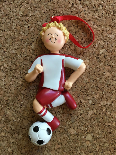 Soccer Player with Red Uniform // Personalized Christmas Ornament