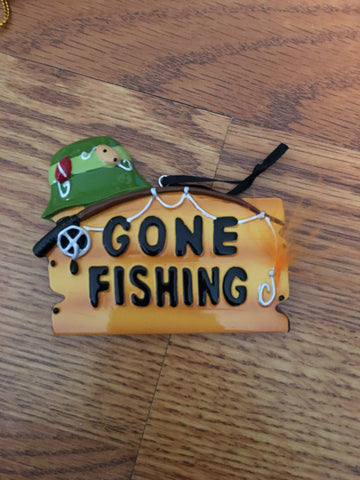 Gone Fishing Persinalized Sign Ornament