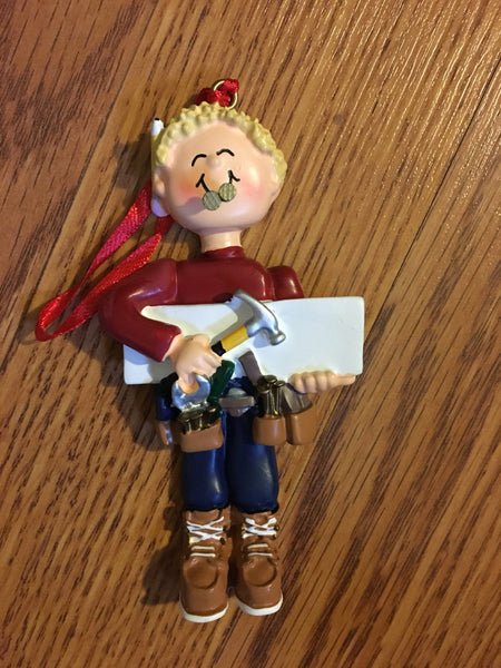 Handy Man // Carpenter with Tools Personalized Construction Ornament