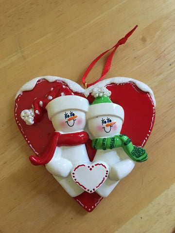 Snowmen Couple Personalized Christmas Ornament