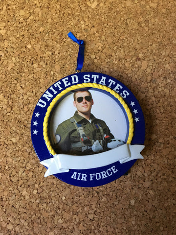 United States Air Force Picture Frame Personalized Christmas Ornament