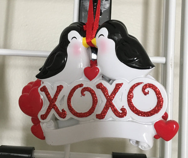 Hugs N Kisses Penguin Couple, Personalized Christmas Ornament