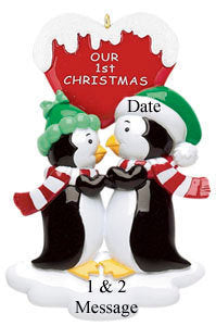 Penguin Couple First Christmas Personalized Christmas Ornament